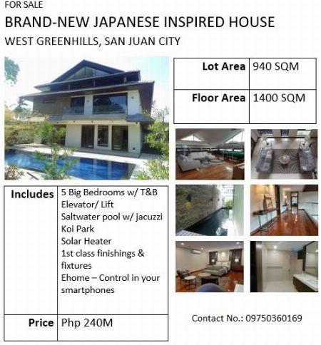 Brand-New House Japanese Inspired- West Greenhills, San Juan -- House & Lot Metro Manila, Philippines