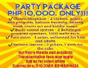 party package, birthday package, graduation promo, clowns, balloon decors, sound system, face paint, styro backdrop, shairish balloons, photo booth -- Birthday & Parties -- Pasig, Philippines