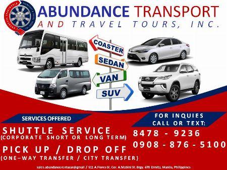Shuttle Service -- Vehicle Rentals Metro Manila, Philippines