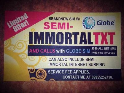 globe sim semi immortal, -- Phone Service -- Metro Manila, Philippines