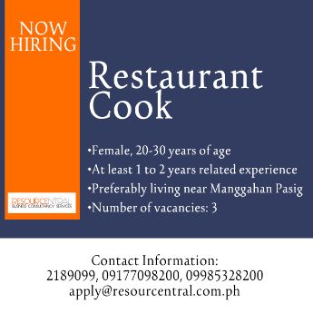 restaurant cook manggahan pasig, -- Restaurant Metro Manila, Philippines