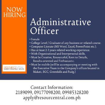 administrative officer secretary admin operatioins, -- Admin & Human Resources Metro Manila, Philippines