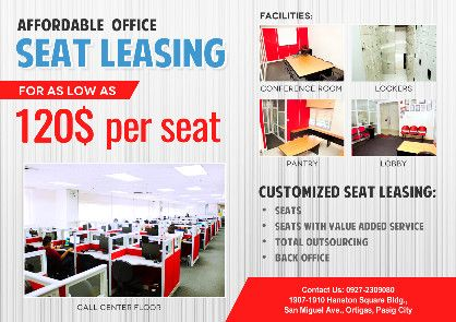 seat lease call center bpo, -- Commercial & Industrial Properties -- Metro Manila, Philippines